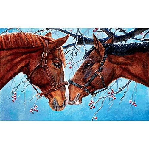 Diamant Mozaïek Borduurpakketten Paard Paar Kus in De Sneeuw Diamant Borduurwerk Vol Diamant Schilderij Thuis Decoratie 45x60cm