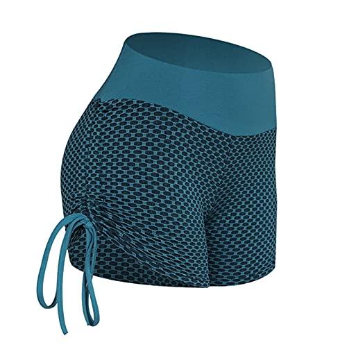 JIANCHI Pantalones cortos de yoga de la mujer de verano Malla de panal cortes cortas aptitud aptitud alta cintura cadera pantalones cortos estiramiento delgado yoga pantalones deportes corriendo leggi