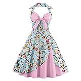 Damen Kleid im Stil der 50er Jahre, Retro, Rockabilly, Prinzessin, Cosplay, Blumenmuster, Halfter Audrey Hepburn 50er 60er Jahre Party...