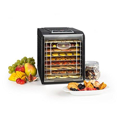 Klarstein Fruit Jerky Plus - Deshidratadora de alimentos, Temperatura regulable 35-70 °C, Temporizador, Rejillas extraíbles, Bandeja antigoteo y antiadherente, Potencia máx. 700 W, 9 rejillas, Negro