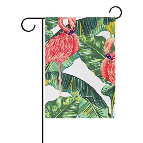 Jessgirl Motif de Feuilles Tropicales Oiseau Oiseau Flamingo 12x18 Pouce Vertical Double Face Premium Jardin Drapeaux Cour Extérieure Décorative Saison