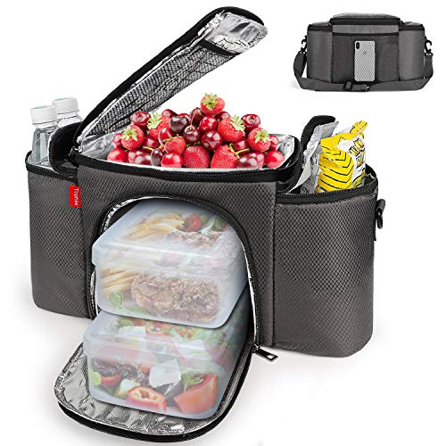 Insulated Lunch Bag for Men and Women, Lunch Box Water-resistant with Removeable Shoulder Strap Reusable Large Lunch Tote Bag for Work/School
