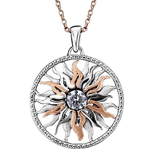 Julie Julsen JJ0039.2 Damen Anhänger Sonne Dancing Stone Sterling-Silber 925 Bicolor Rose Weiß Zirkonia