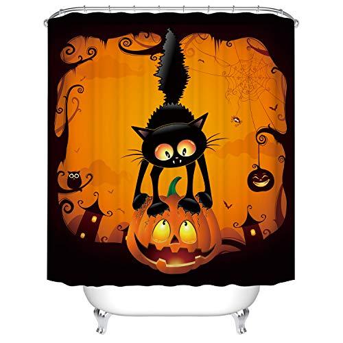 Hengweiuk Halloween Duschvorhang, wasserdicht, schimmelresistent, für Badezimmer, einfarbig, mit Vorhanghaken, 180 x 180 cm, 12 Haken aus reinem Kupfer, blau
