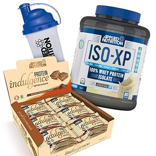 Applied Nutrition Bundle ISO XP 100% Whey Protein Isolate Powder 2kg + Protein Indulgence High Protein Low Sugar Bar Box 12 x 50g + 700ml Shaker (ISO Vanilla + Choc Caramel Bars)
