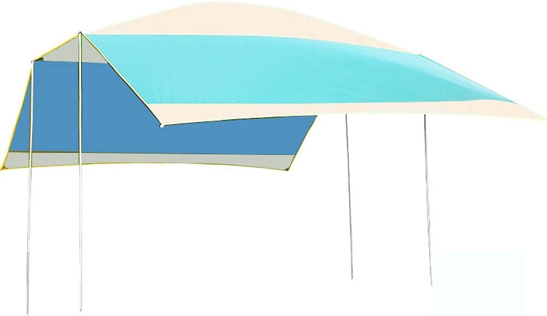 Camping Tarpaulin Folding Tent Outdoor Pergola Canopy Multiplayer AntiUV Beach Rainproof, Sun Predection Sun Shield,bluee