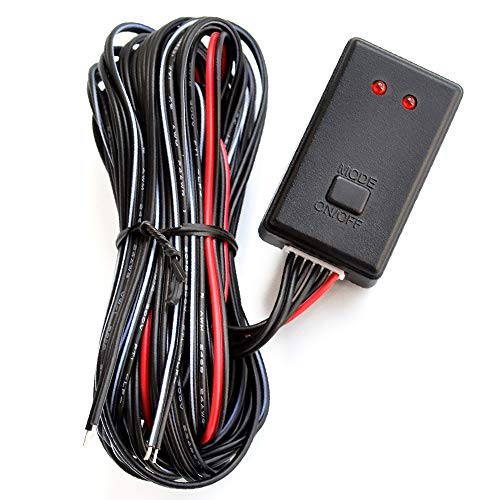 TIDO Universal Flash Strobe Controller Flasher Module for Car Truck Motorcycles LED Light DRL, Two Way Tail Stop Light Flash Control Box with Extension Cable 12V 24V
