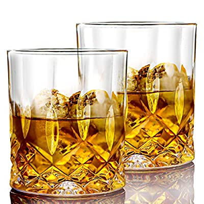 LYOUCI Crystal Whiskey Glasses set of 4, 10oz Rock Style Old Fashioned Glasses Perfect for Scotch, Cognac, Bourbon, Irish Whisky and Old Fashioned Cocktails
