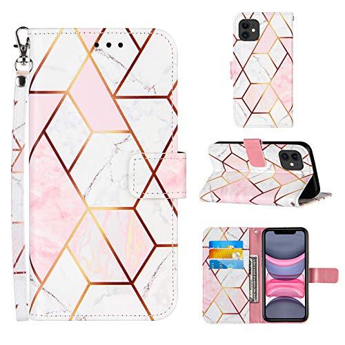 Ostop Hülle Kompatibel mit iPhone 11 Schutzhülle Brieftasche Premium Leder Flip Tasche Handyhülle für Mädchen Männer [Handschlaufe][Standfunktion][Kartenfach],Marmor Rosa Weiß