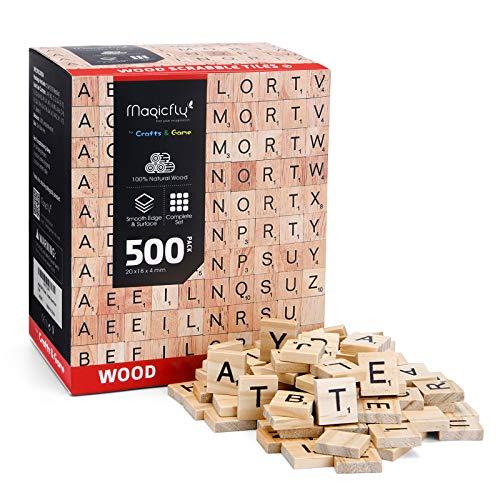 Magicfly Fliesen, 500 Stück Buchstaben zum Spielen Buchstaben aus Holz Fliesen mit Zahlenwerten zum Basteln