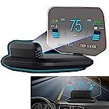 6'HUD Head Up Display per auto OBD2 + Sistema GPS Tachimetro multifunzione Sospensione Parabrezza Proiettore LED Contachilometri Schermo riflettente HD per tutte le auto
