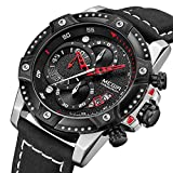 MEGIR Men's Analog Business Quartz Chronograph Watch with Stylish Black Leather Strap Black Big Face...