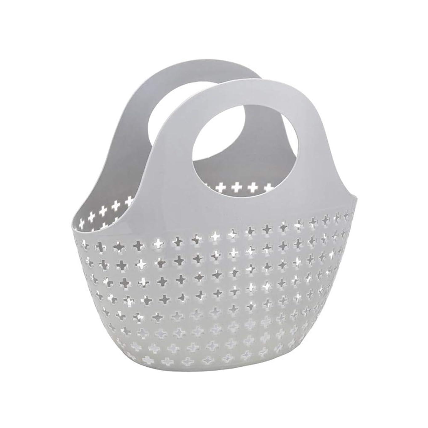 十年強調する是正フルーツプレート プラスチックウォッシュバスケットバスバスケット収納バスケット事務机破片収納バスケット (色 : グレー, サイズ : 27*14*27cm)