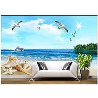 Lcymt 壁画の壁紙 3D青い空海サンシャインビーチスピードボート海の星巻き貝海辺海景壁画リビングルーム寝室の背景壁の装飾壁画-280X200Cm