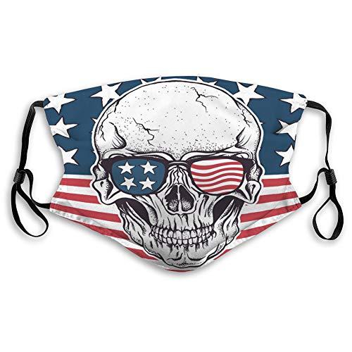 Anti-Atemschutz Luftstaub Gesichtsmund Schild Amerikanischer Schädel in Sonnenbrille auf USA-Flagge Bequeme Abdeckungen