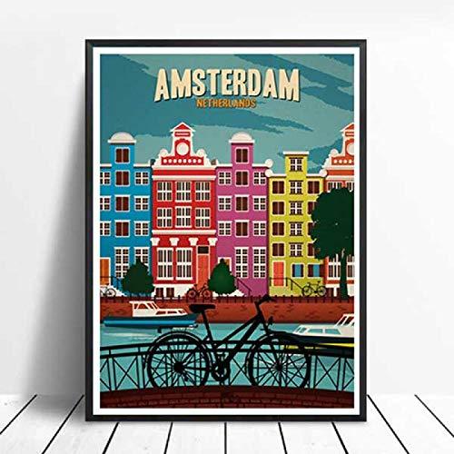 xiangpiaopiao Carteles E Impresiones Pintura En Lienzo Londres Países Bajos Ámsterdam Viajes Vintage Ciudades Paisaje Arte De La Pared Imagen Decoración 40X50Cm (6R-6267)