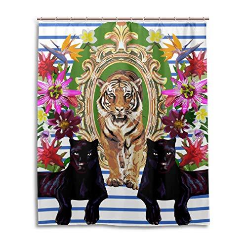 Emoya Duschvorhang Tiger Black Panther Tropische Blume Streifen Badvorhang Badezimmer Gardinen wasserabweisend Anti-Schimmel Polyestergewebe Heimdekoration mit Haken 150 x 180 cm