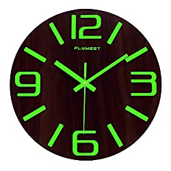Plumeet Luminous Wall Clocks - 12'' Non-Ticking Silent Wooden Clock with Night Light - Large Decorative Wall Clock for Kitchen Office Bedroom,Battery Operated (3D Number, Modern)