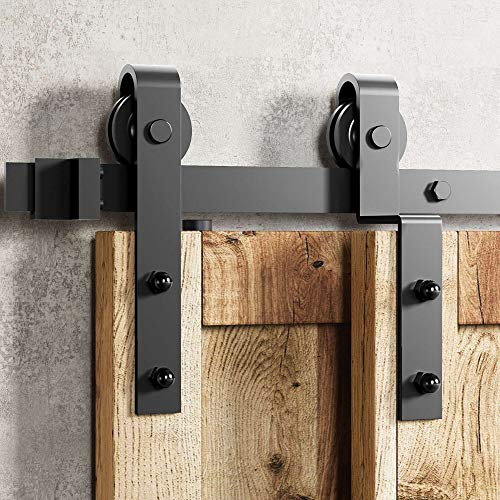 Homacer Black Rustic Single Track Bypass Sliding Barn Door Hardware Kit, for Two/Double Doors, 9ft Long Flat Track, Classic Design Roller, for Interior & Exterior Use (1 Flat + 1 Bent Roller Set)