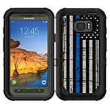 Teleskins Protective Designer Vinyl Skin Decals/Stickers Compatible with Otterbox Defender Samsung Galaxy S7 Active Case -Thin Blue Line USA Police Flag Design Patterns - only Skins and not Case