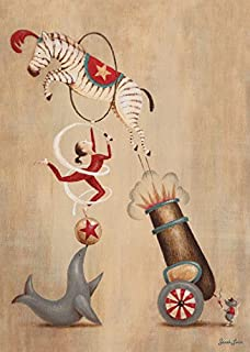 Oopsy daisy, Fine Art for Kids Vintage Circus Cannon Stretched Canvas Art by Sarah Lowe, 10 by 14-Inch
