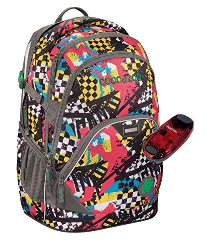 Coocazoo Schulrucksack EVVERCLEVVER2 mit LED-Sicherheitslicht - viele Farben und Dessins (Checkered Bolts)