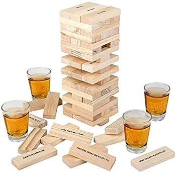 ArtCreativity Tumbling Tower Drinking Game Drinking Game with 4 Glasses and 60 Wooden Blocks with Challenges Fun House Party Games for Game Night Great Gift Idea