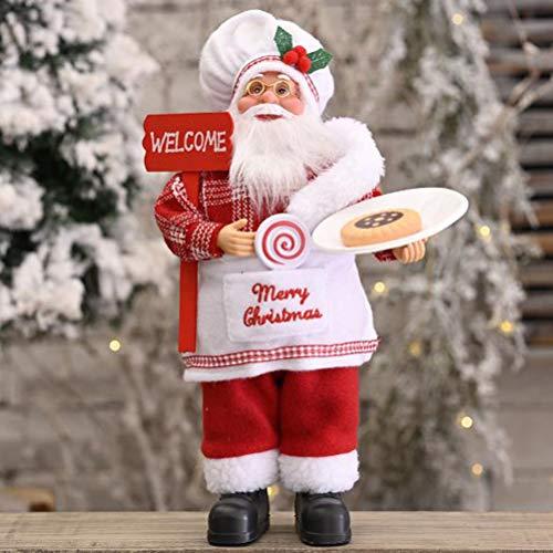 Ioffersuper 11.8' Standing Santa Claus Christmas Figurine Figure Decoration, Santa Claus Standing Doll, Cute Creative Santa Claus Doll (Red-C)
