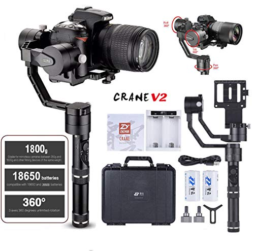 Zhiyun Crane V2 3 Axis Brushless Handheld Gimbal Stabilizer 3 32Bit MCUs Brushless Motors with Encoders for Mirrorless Camera Sony A7 Series Panasonic LUMIX Series Nikon J Series Canon M Series