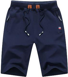Leezepro Gym Shorts Mens Sports Shorts Sweat Shorts Mens Running Shorts Joggers Casual Shorts with Zipped Pockets