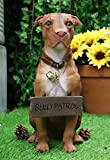 """Ebros Gift Lifelike Pet Pal American Pit Bull Dog Statue 13"""" Tall with Jingle Collar and Greeting Sign As Patio Welcome Entry Door Home Decor Pit Bulls Dogs Family Sculpture"""