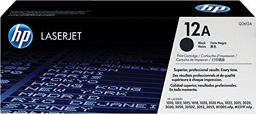 HP 12A Q2612A Cartuccia Toner Originale, Compatibile con Stampanti HP LaserJet 1010, 1012, 3015, 3020, 3030, 1020, 1022NW, 3050, M1005mfp, M1319 MFP, 108se, Nero