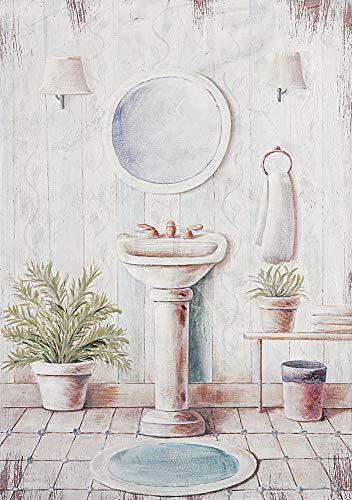 DISRAELI Quadro Legno Bagno Stile Shabby Chic Vintage Arredamento Misure 35.5x51x3 cm