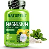 NATURELO Magnesium Glycinate Supplement - 200 mg Natural Glycinate Chelate with Organic Vegetables - Best for Sleep, Calm, Anxiety, Muscle Cramp & Stress Relief – Gluten Free, Non GMO - 120 Capsules