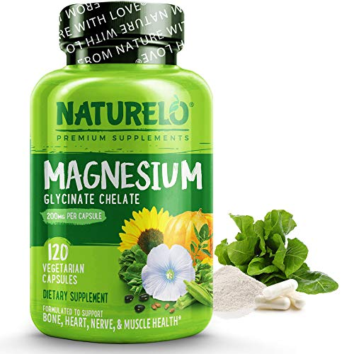 NATURELO Magnesium Glycinate Supplement - 200 mg Glycinate Chelate with Organic Vegetables for Sleep, Calm, Anxiety, Muscle Cramp & Stress Relief – Gluten Free, Non GMO - 120 Capsules
