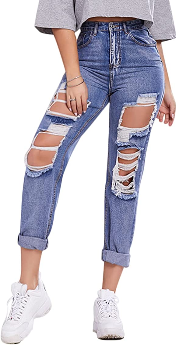 Binshre High Waist All items free shipping Ripped Jeans Limited price Deni Distressed Women Casual for