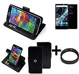 K-S-Trade® Case Schutz Hülle Für Archos Sense 55 S + Bumper Handyhülle Flipcase Smartphone Cover Handy Schutz Tasche Walletcase Schwarz (1x)