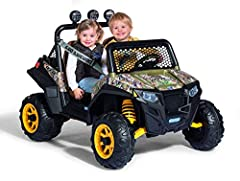 2 speeds plus reverse (21/2 or 5 mph) (5 mph lockout for beginners) Large cargo bed with tie-down anchors Super Traction wheels for grass, dirt, gravel or hard surfaces. Adjustable bucket seats for growing kids Cup holders for water or juice