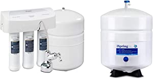 Whirlpool WHER25 Reverse Osmosis (RO) Filtration System with Chrome Faucet, White & iSpring T32M Pressurized Water Storage Tank with Ball Valve for Reverse Osmosis RO Systems, 4 Gallon