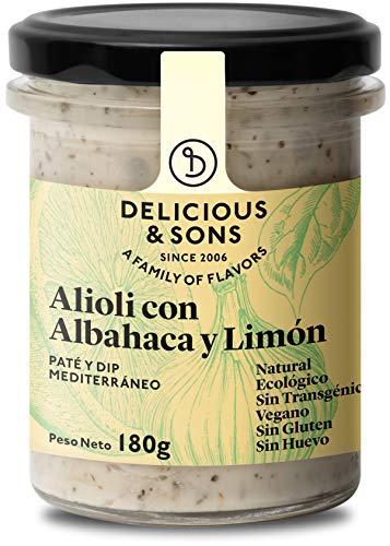 Delicious & Sons Alioli con Albahaca y Limón - Ecológico - Sin Huevo - Sin Transgénicos - Sin Gluten - Vegano - Sin Azúcares Añadidos - Apto para dietas Paleo y Keto - 180g