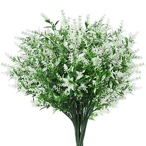 GREENRAIN 8 Bundles Artificial Lavender Flowers Outdoor Fake Flowers for Decoration UV Resistant No Fade Faux Plastic Plants Garden Porch Window Box Décor (White)