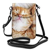 shenguang Lindo gatito rojo duerme sobre la piel Manta blanca Moda Bolso pequeño para teléfono celular Bolso de hombro multiusos Cartera