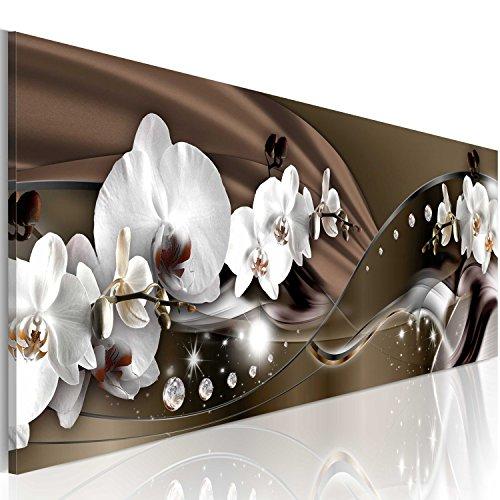 B&D XXL murando Impression sur Toile intissee 150x50 cm 1 Piece Tableau Tableaux Decoration Murale Photo Image Artistique Photographie Graphique orchidée Fleurs b-A-0072-b-c