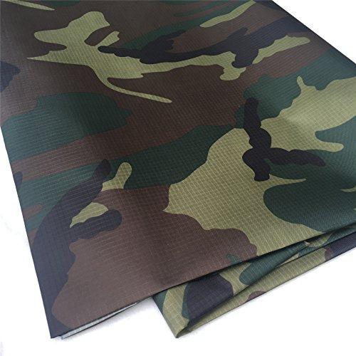Zaione, tessuto antistrappo stampato in poliuretano, impermeabile al metro, larghezza 147,3 cm, copertura da giardino con stampa floreale, aquiloni, patchwork, Verde militare mimetico.