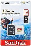 SanDisk Extreme - Tarjeta de memoria 128GB microSDXC para móvil, tablets y cámaras MIL + adaptador SD + Rescue Pro Deluxe, velocidad lectura 100 MB/s, Class 10, U3, V30, A2