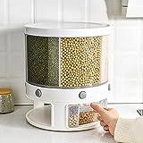 B/C Dispensador de Alimentos giratorios, dispensador de Alimentos de plástico de 22 Libras de plástico 6 envase de Caja de Almacenamiento de arroz para Cocina (11.42x11.42x12.60 Pulgada)