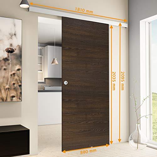 inova Holz-Schiebetür 880 x 2035 mm Wenge Alu Komplettset mit Lauf-Schiene und Griffmuschel inkl. Softclose - 5