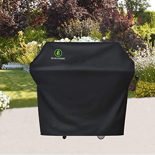 F&J Outdoors Waterproof Grill Cover, 52x24x48 inches UV Resistant Anti-Fading Heavy Duty Fabric BBQ Barbecue Covers Fit 2-4 Burner Gas Grills, Black