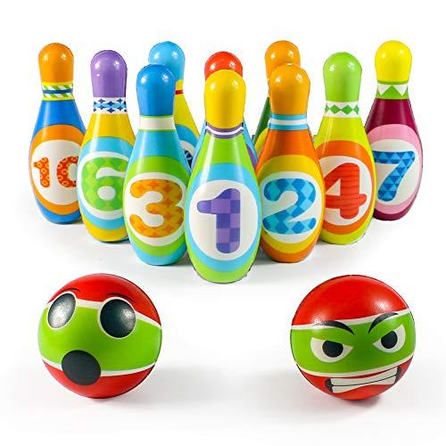 Bolos Infantiles Juego de Bolo con 10 Alfileres 2 Bolas Juego Deportivo Interior Exterior Educativos Regalos para Niños Niñas 3 4 5 Años
