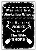 結婚はワークショップです 金属板ブリキ看板警告サイン注意サイン表示パネル情報サイン金属安全サイン